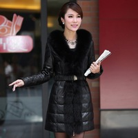 Free Shipping by EMS/DHL, Newest,  fox_fur collar, sheep Leather, women, fur coat/outwear