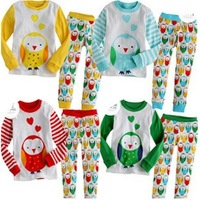 Promotion! (5sets/lot) Autumn Children Boys and girls clothes sets cartoon tracksuit bird sport suits baby cotton top pant