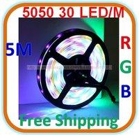 Waterproof RGB LED 5050 SMD Colorful Light 30 LED/M Length: 5M