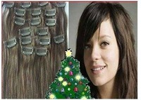 "low price 28"" #2  100g6pcs jet black 100% real human hair clips in extensions real straight full head high quality"
