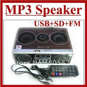 Mini Sound box MP3 player Mobile Speaker boombox FM Radio SD Card reader USB SU12 free shipping