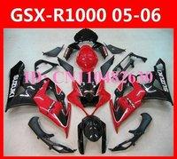 Suzuki ABS GSXR1000 GSX-R1000 Gixxer 2005 2006 Glossy red/black fairing kit,Motorcycle replacement bodywork kit free windscreen