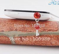Small Key Mobile Phone CharmIP112!10pcs/Lot!! Trendy Crystal Metal Alloy Girl  Rhinestone Fashion Heart Cell Phone Chain