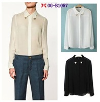 Free shipping Top brand style 2012 Popular long sleeve metal collar solid  Women chiffon white black Blouses, 2 colors S, M, L