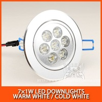 Wholesale 10PCS LED Downlights high power led ceiling 7W 7*1W 630lm AC85-265V Warm white/cold white Free Shipping / DHL