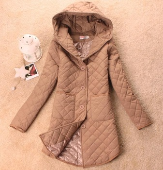 Women's long hooded jacket cotton-padded jacket women's hooded plaid outerwear/winter coats TY936