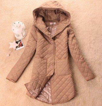 Women's long hooded jacket cotton-padded jacket women's hooded plaid outerwear/winter coats TY936