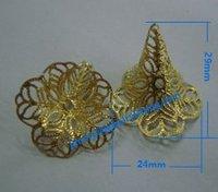 2000pcs jewelry fingding brass filigree beads cap  wholesale price raw brass  size 29*24mm