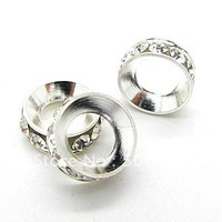 14mm Wheel shape Silver Plated  Copper Spacers DIY jewelry findings with A level CZ diamond Free shipping HA798