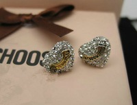 Free Shipping High Quality Cute Ear Studs Brand Ear Nails Silver Heart Earring Gift Package #JCE021-Silver