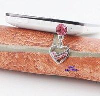 IP157 10pc/Lot pink silver heart dust plug wholesale