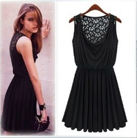Womens Vintage Lace Milk Silk Slim Dress Solid Color Back Flower See-through Black Color B176