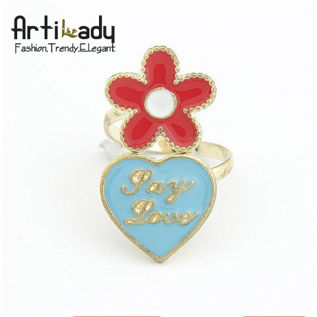 Artilady gold classical flower with heart ring fashion design punk engagement rings(China (Mainland))