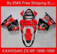 EMS Free Shipp for KAWASAKI fairing kit ZX-6R 98-99 ZX 6R 1998-1999 ZX6R 98 99 1998 1999 Red 1128