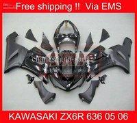 2082 Free Shipp fairing for KAWASAKI ZX6R 636 05 06 ZX-6R 2005-2006 6R 05 06 ZX 6R 2005 2006 Black