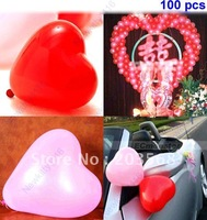 Wholesale 100pcs Heart Shape Balloons Occasions Wedding Birthday Party Decoration Supplies+Free Shipping