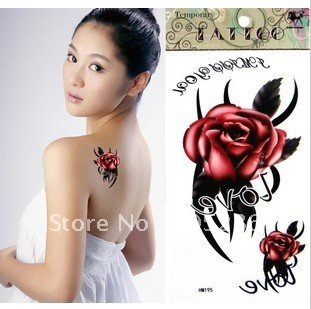 New Arrive factory hotsale red rose Temporary tattoo sticker water transfer tattoo10sheet/lot fast delivery free shiping(China (Mainland))