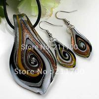 Free shipping Murano Lampwork Glass Swirl Bead Pendant Earring 1 Set