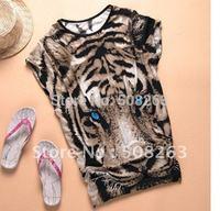 Hot Sell New Tiger printed Women's T-shirt Long Tops Summer Tees Blue Eyes Popular T shirts Fashion Animal pattern T0808