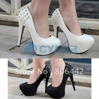 Free Shipping Lady Classic Inner Platform Chunk Rivets Pumps Wedding Evening Dress High Heel Shoes
