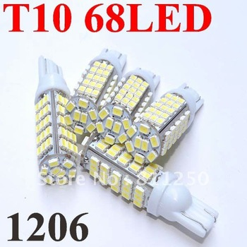10pcs/lot 68LED 1206 SMD LED Car T10 W5W 194 927 161 Side Wedge Light Lamp Bulb for License plate lights Free Shipping