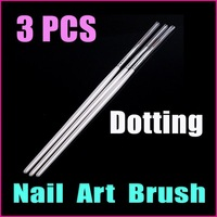 10 sets/lot 3PCS  Professional Nail Tools White Nail Art  Design Pen Painting Brush Dotting  Pen Set, Wholesale