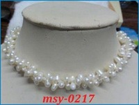 Elegant fashion jewelry 2 rows white round pearl lady's necklace Length:17'