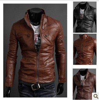 free shipping 2012 NewNew Korea Men's Zip-up Slim Fit Designed PU Leather Jacket Coat Black/ Brown   Asian size M L XL XXL YC21