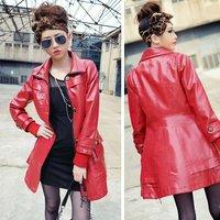 2012 fashion genuine leather coats woman