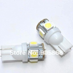 free shipping wholesale 100pcs car LED Lamp T10 W5W 194 5050 SMD 5 LED White Light Bulbs(China (Mainland))