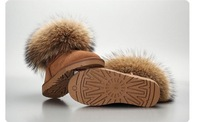 Free shipping.ladies'  fashion snow boots.winter cow shoes.genius leather.The fox wool.cheap