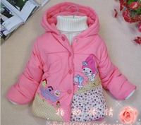 little girls winter cartoon coat hoody baby kids warm jacket overcoat thick outwear baby clothing wear retail+drop shipping