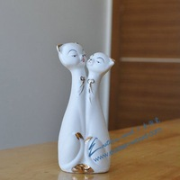 Free shipping! Christmas gift, Mr. & Mrs. cat, Party favor, Healthy Kids Toys, art decoration, Ceramic crafts, simple package