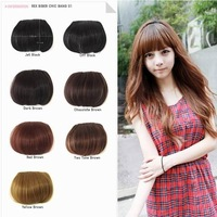 (hb-003)100% human hair extension clips in/on side long bangs hair fringe hair piece all color can be made free shipping