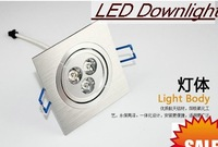 3w dimmable Square LED Downlight Wholesale -10pcs/lot   220v3x1W   High Power Energy Saving LED lamp