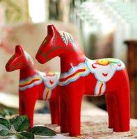 wholesale wooden craft arts horse handicraft animal desk office car home decoration gift  for friends novely handicraft  2pc/set