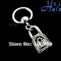 10PCS/Lot Free Shipping BS005 Hot Rhinestone Stainless Steel Metal Lock Fashion Nose Ring Wholesale