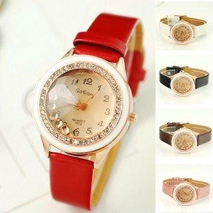 Korea Hotsale Fashion Crystal Watch Women Watch Top Quality Leather Band Wrist Watch Gogo008