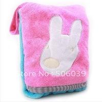 Baby blankets/ pocket blanket/coral flocking blankets/embroider cartoon/air conditioning blanket