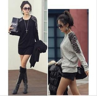 New South Korea Fashion Lady T-shirt with Leopard Color 3color,3size Women's Cotton t Shirt,Long Sleeve Tops Free Ship