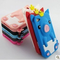 Hot sales!Freeshipping!5cs/lot New Cute 3D Pig Crown Silicone Case Skin Back Cover for iPhone 4 4G 4S