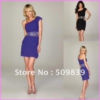 Blue Chiffon A-Line One Strap Beads Waistband Tiered Skirt Short Homecoming Dress Cocktail Party Gown on Promotion