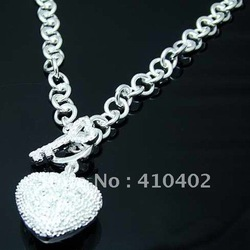 Free shipping wholesale 925 silver ncklaces, 925 sterling silver jewelry, fashion jewelry heart shaped Pendants Necklace N022(China (Mainland))