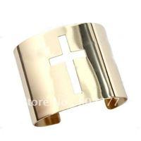 Silver and gold hole cross cuff bangle bracelet honest,8pcs/lot,OY080703 (B1153)