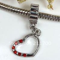 $15 off per $150 order Free shipping 5pcs Heart Spacer Dangle European Bead Fit Charm Bracelet