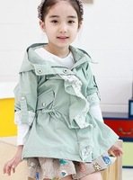 The latest fashion comfortable cute Korean  Lace Ruffle 2 color baby windbreaker/ jacket,girls outwear/coat