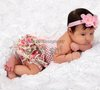 2 Pcs Set - Baby Girls Light Pink White Crochet Tube Top & Rose Satin Bloomer Panties Underwear NB-12M