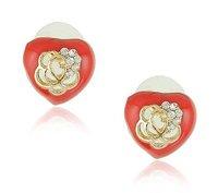 E1276 Korea edition luck beautiful earrings hollow out peach heart stud earrings Mixed colors Free shipping