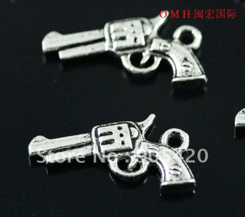 OMH wholesale 140PCS tibetan silver handgun charm pendants 21x12mm DZ151(China (Mainland))