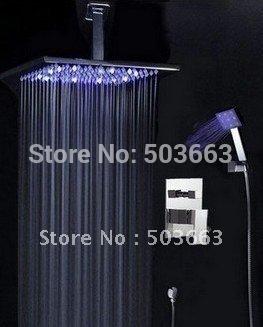 "12"" LED Shower Head Bathroom Rainfall Shower Complete Faucet Shower Set CM0563"